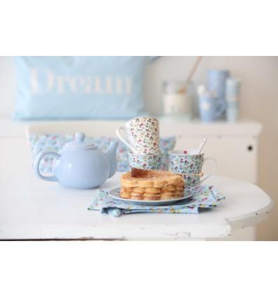 Happy Mugs con asa flores azul
