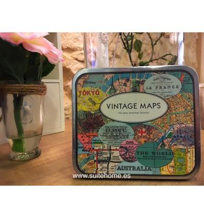 Caja pegatinas mapas