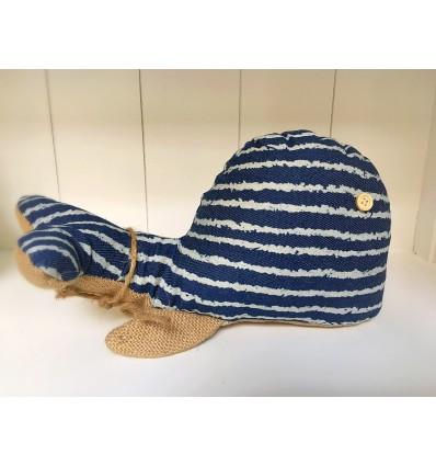 Aguantapuertas ballena azul rayas
