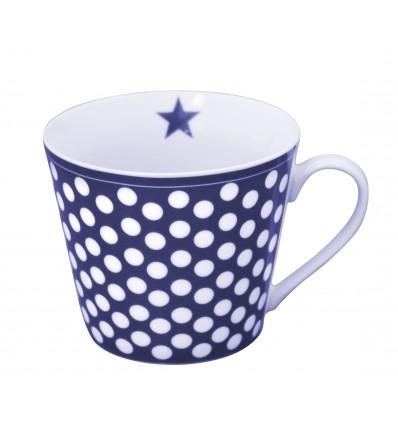 Happy cup, azul oscuro lunares blancos